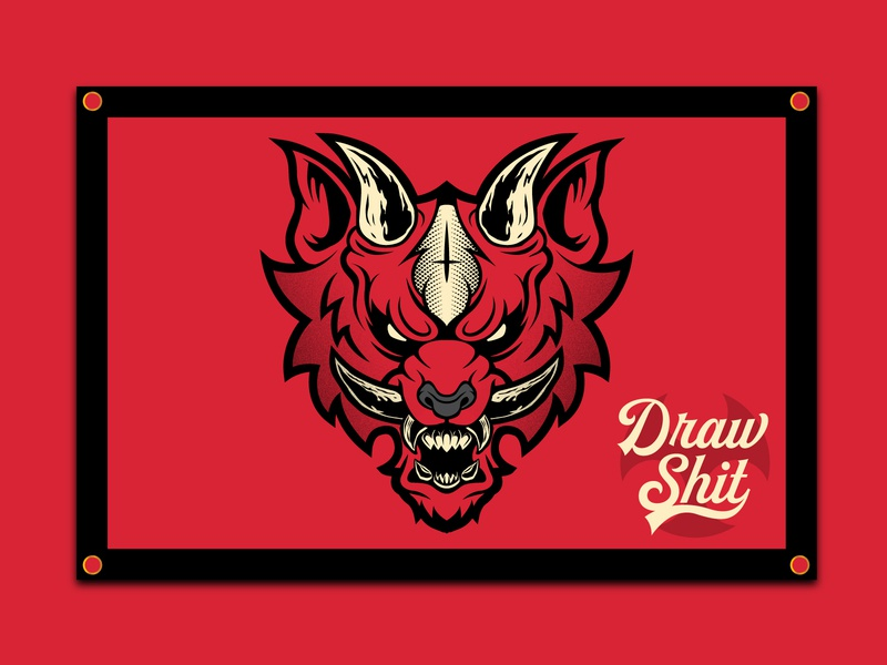 Demon Wolf Flag badge art logo design dribbble branding typography illustration vector wolf