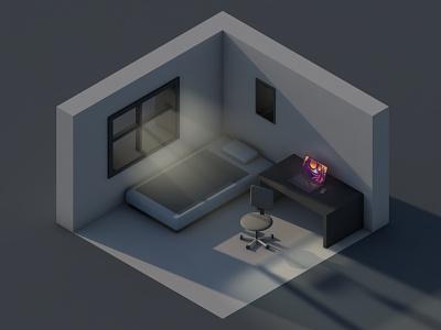 Cozy room 2 minimal isometric vlasuhiro c4d