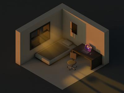 Cozy room 3 minimal isometric c4d vlasuhiro