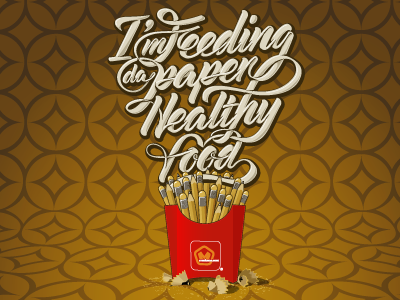 I'm feeding da paper healthy food artwork design graphic vector pencil lettering letters type typography illustration healthy fries graphic design healthy food mac donalds