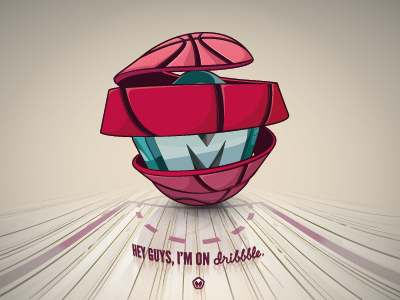 Hey guys, I'm on dribbble. artwork design graphic vector logo logotype illustration dribbble basketball ball rookie drafted pink key maztrone graphic design wood floor