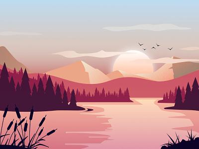 Mountain lake graphic design sun sky nature water ambiant sunset lake mountain lansdcape vector design illustration