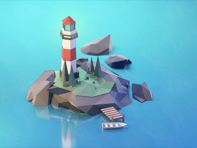 Lighthouse island landscape 3d art blender3d cgart illustraion 3d blender lowpoly boat lighthouse sea