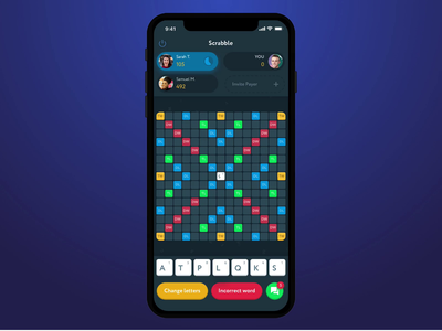 Scrabble Animation ui animation chechers interface game game app colorful scrabble ui  ux ui clean game design