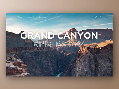 Landing page design concept in minimalistic style ui ux landing web parallax clean bmx races animation motion colorful minimalism