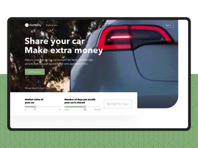 Animation for Car sharing service landing page landing ui ux animation motion ui design car sharing carsharing web interaction real estate colorful