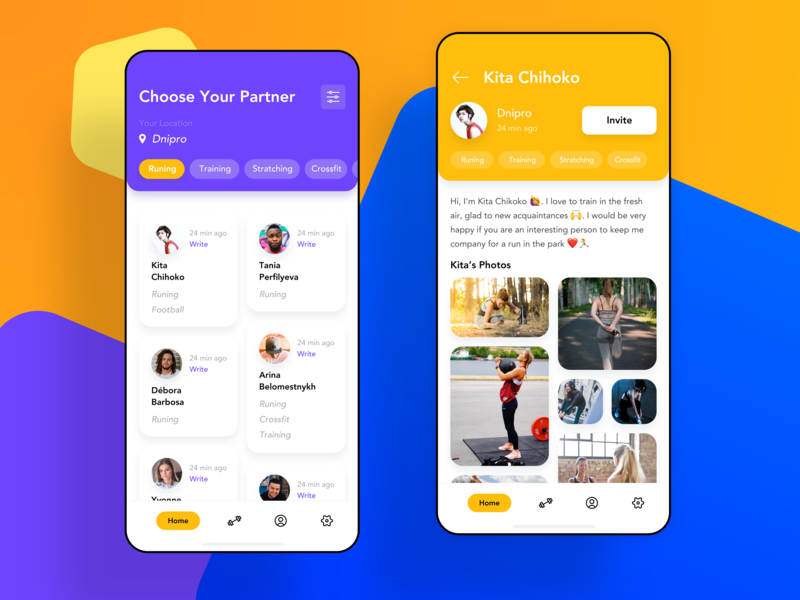 Application for finding partners for sports ⛹️‍♂️ design workout fitness sport app colorful ux ui