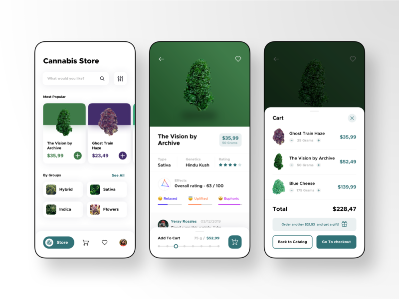 Cannabis Store Design Concept weed minimalism clean store deals medicine medical uidesign colorful uiux ui app cannabis
