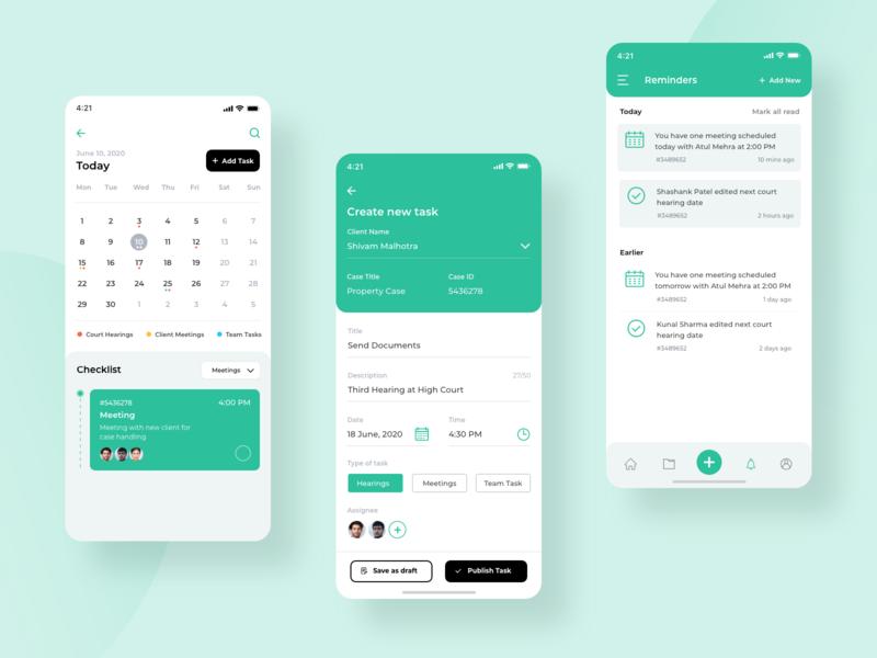 Task Management app calendar ui mobile ui ui mobile app design task management app