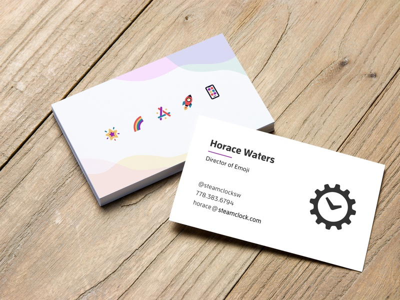 Business Cards 🎉 marketing illustration steamclock brand business cards emoji