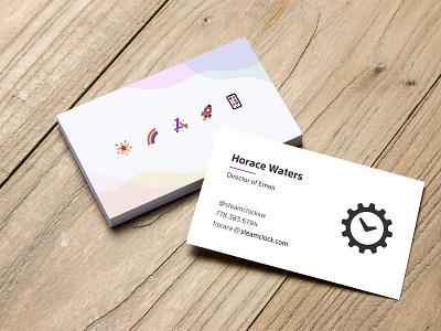 Business Cards 🎉 marketing illustration steamclock brand business cards emoji