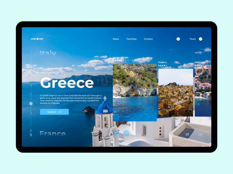 Discover Greece minimal website web ux ui design