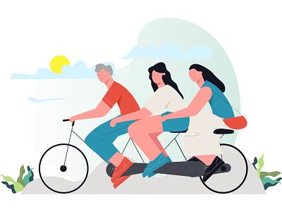 Engagine Illustration Little People On A Tandem Bike icon design flat vector minimal illustration