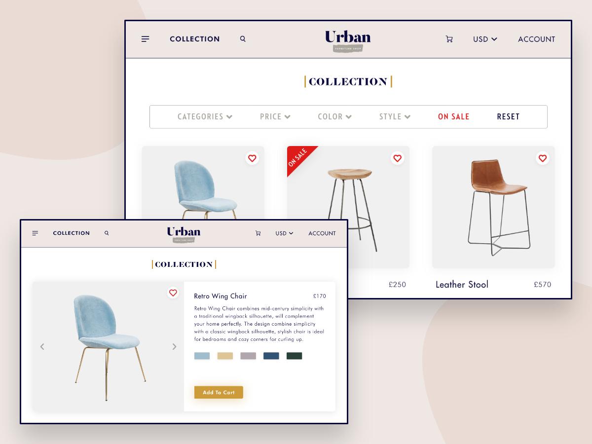 Urban - Furniture Shop web app design web deisgn button design purchases chair design branding vector logo design ecommerce app app design ux ui
