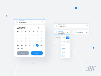 Day & Time Picker | AnywhereWorks DS design clean product design components time date events input schedule ux ui anywhereworks timepicker time picker design system datepicker calendar ui date picker calendar design calendar