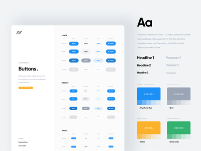 Anywhere Design System visual design component library components typography styleguide ui style guide branding color color palette input button buttons design system anywhereworks anywhere interface clean ux design ui