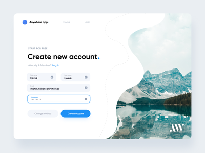 Login & Sign up | AW Universal Page login page account anywhereworks product design interface clean ux design ui login login form website register sign in forgot password sign up modal form create account input