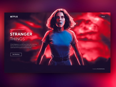 Stranger Things Concept UI cinema hbo series demogorgon tv show tv strangerthings kid 11 eleven dark web design ux ui stranger things netflix interface design clean