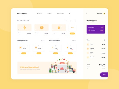 Gastro Products Shop Dashboard movade shop product buy cart dish dashboard food product design design interface web design ux ui clean