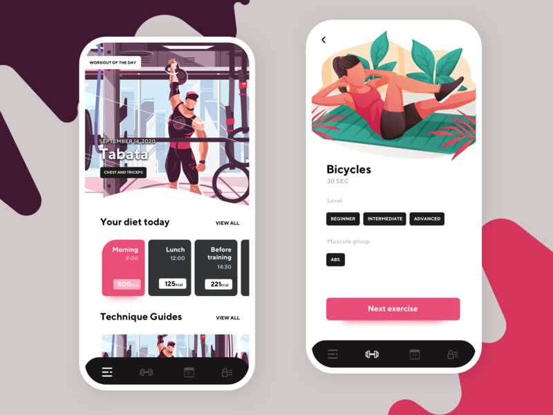 Workout App calories health lifestyle activity fitness movade workout app diet training workout mobile android app ios app app product design ux ui interface design clean