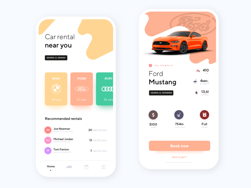 Car Rental App movade car brands ios mobile car rental ford mustang car booking rental app android app product design ux ui interface design clean