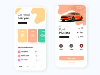 Car Rental App movade car brands ios mobile car rental ford mustang car booking rental app android app product design ux ui interface design clean