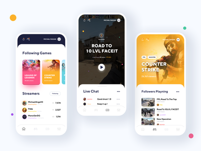 Streaming Games App platform fortnite league of legends esport player minimalism csgo live stream games mobile app android app product design movade ui clean ux interface design