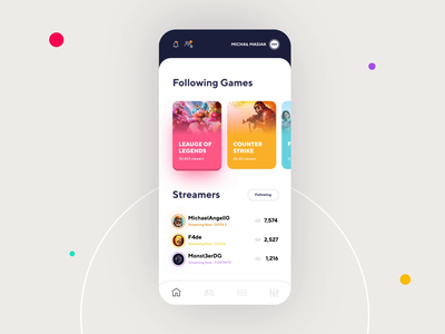 Streaming Games App - Animation broadcast csgo ios live streaming stream animation motion player mobile app android app web design product design movade clean ux ui interface design