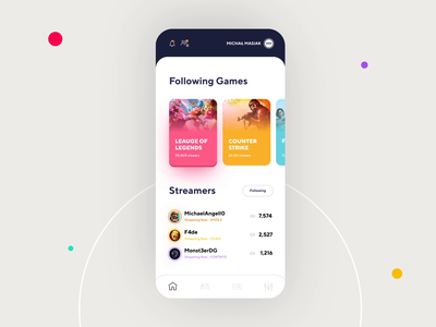 Streaming Games App - Animation