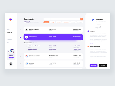 Job Search platform web work find job job application job listing job portal freelancer job search dashboad minimalism light job product design movade clean ux ui interface design