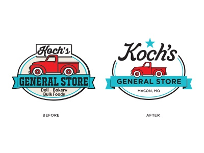 Koch's General Store Logo Redesign farm friendly southern kitchy american retro truck vintage