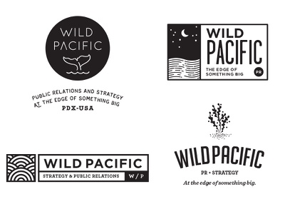 Preliminary Logo Concepts for Wild Pacific water whale enclosure moon ocean seaweed west coast waves public relations