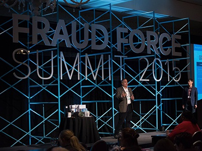 Fraud Force Summit 2015, Stage industrial modern bold teal scaffolding event stage conference summit