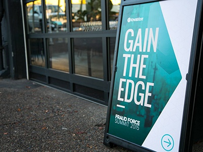 Fraud Force Summit 2015, Signage sandwich board directions modern bold teal signage event stage conference summit