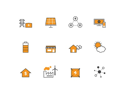 Icon Collection icon technology network utilities storage grid battery solar power energy