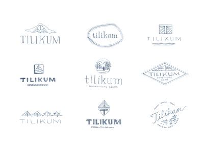Tilikum Logo Sketches tree logo badge native bridge mountain sports gear adventure outdoor northwest sketch