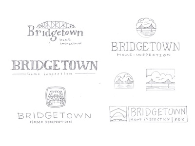 Bridgetown Logo Sketches pencil concept sketch badge oregon portland water clouds bridge