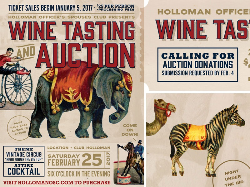 Night Under The Big Top, Wine Tasting & Auction camel zebra elephant circus vintage event