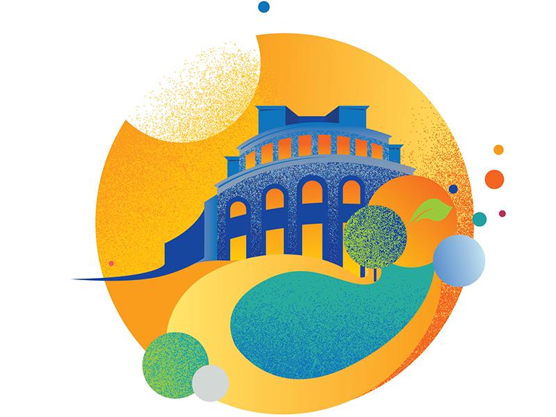 Armenian National Academic Theatre of Opera and Ballet summer swan lake opera yerevan armenia vector design illustration