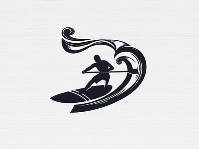 SUP SURF wave black branding paddle board surfing sport illustration logo