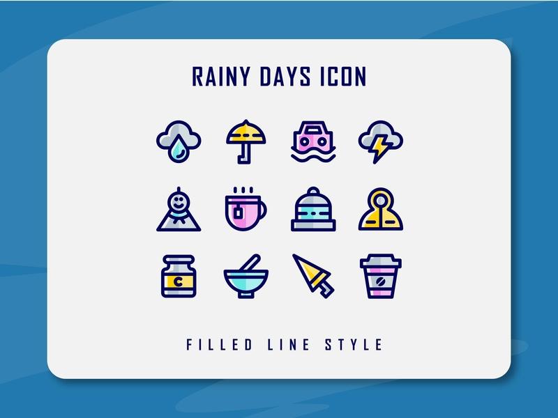 Rainy Days Icon Set rain rainy rainy day flat web vector ux ui minimal illustration logo design icon set icon filled outline filled line