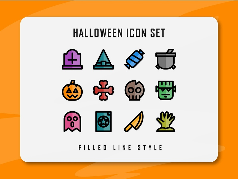 Halloween Icon Set halloween design halloween flat web vector ux ui minimal logo illustration icon set icon design filled outline filled line