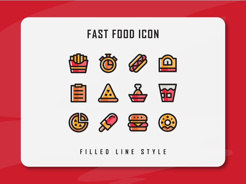 Fast Food Icon Set food and drink fast food icon a day icon artwork website app branding flat web vector ux ui minimal logo illustration icon set icon filled outline filled line design