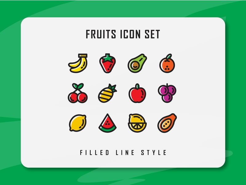 Fruits Icon Set icon a day icon bundle website branding fruits fruit flat icon artwork web vector ux ui illustration logo icon pack icon set icon filled outline filled line design