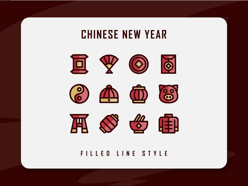 Chinese New Year Icon Set minimal chinaart chinatown lunar new year chinese new year branding icon a day icon artwork flat web vector ux ui logo illustration icon set icon filled outline filled line design