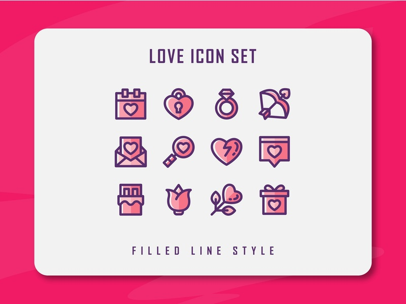 Love Icon Set wedding valentine love app branding icon a day icon artwork minimal flat web vector ux ui logo illustration icon set icon filled outline filled line design