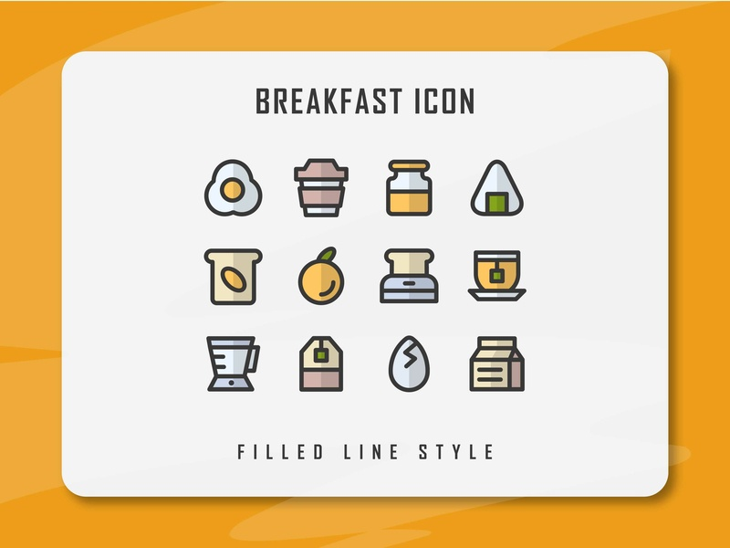 Breakfast Icon Set eating morning breakfast app branding flat web minimal icon a day icon artwork vector ux ui logo illustration icon set icon filled outline filled line design