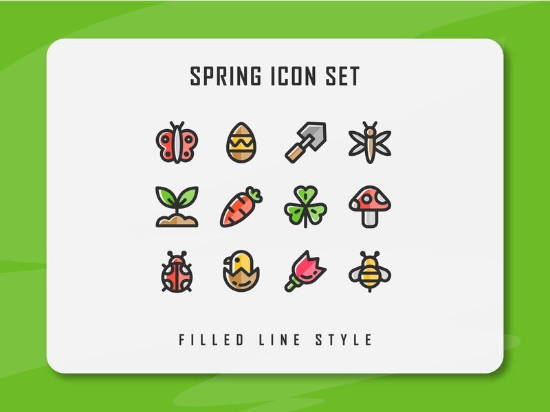 Spring Season Icon Set springtime spring website app branding icon a day icon artwork minimal flat web vector ux ui logo illustration icon set icon filled outline filled line design