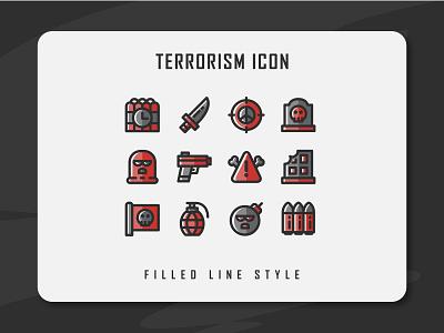 Terrorism Icon Set terror terrorist terrorism app branding icon a day icon artwork minimal flat web vector ux ui logo illustration icon set icon filled outline filled line design