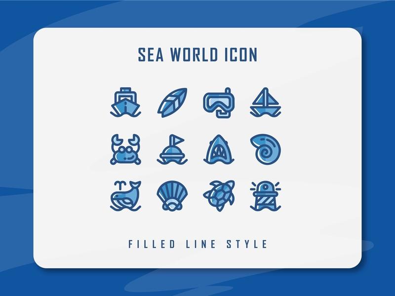Sea World Icon Set seaworld sea website app branding icon a day icon artwork minimal flat web vector ux ui logo illustration icon set icon filled outline filled line design